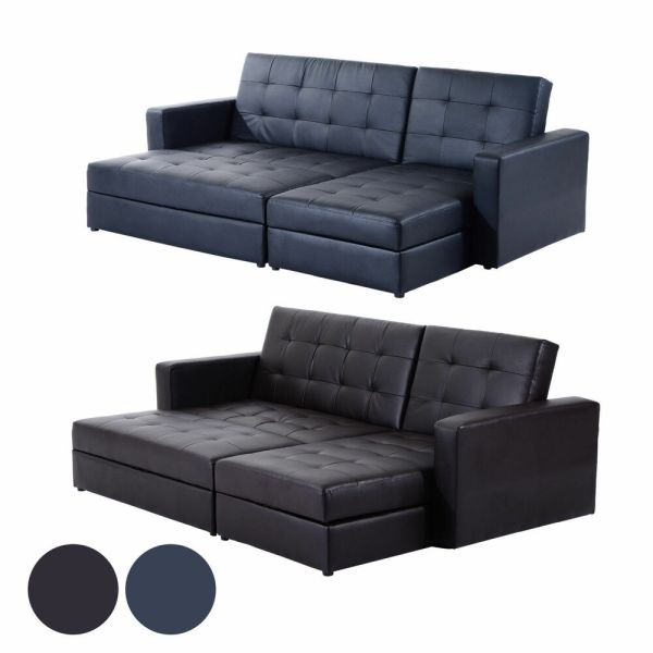 Deluxe Faux Leather Corner Sofa Bed Storage Sofabed Couch With Ottoman Brand New | eBay