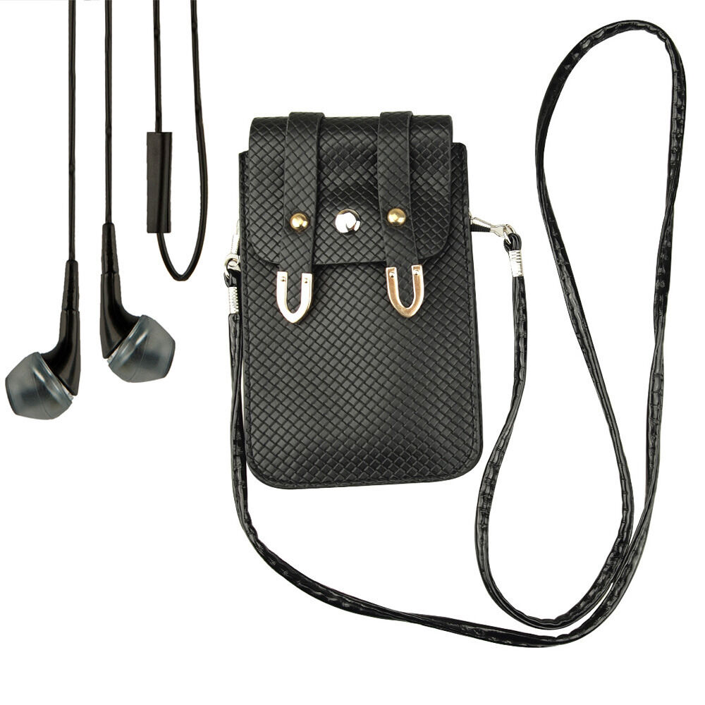 Black Pouch shoulder bag Case Lanyard for Samsung Galaxy