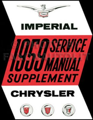 1959 Chrysler Shop Manual Supplement Imperial New Yorker