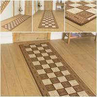 Chequer Brown - Hallway Carpet Runner Rug Mat For Hall ...