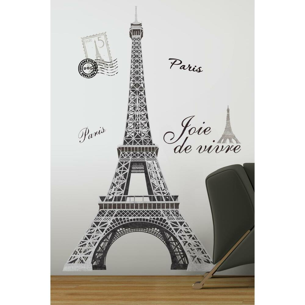 Girls Wallpaper Decals With Eifle Tower Eiffel Tower Mural Wall Stickers 13 Big Decals Paris Room