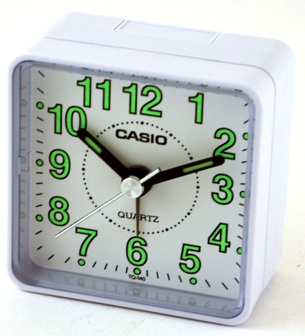 Casio Tq140-7d White Dial Easy Reader Table Top Travel Alarm Clock