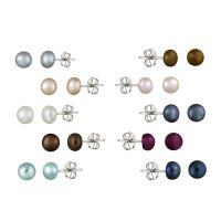 Stainless Steel 5-6mm Freshwater Multi-Color Stud Earrings ...