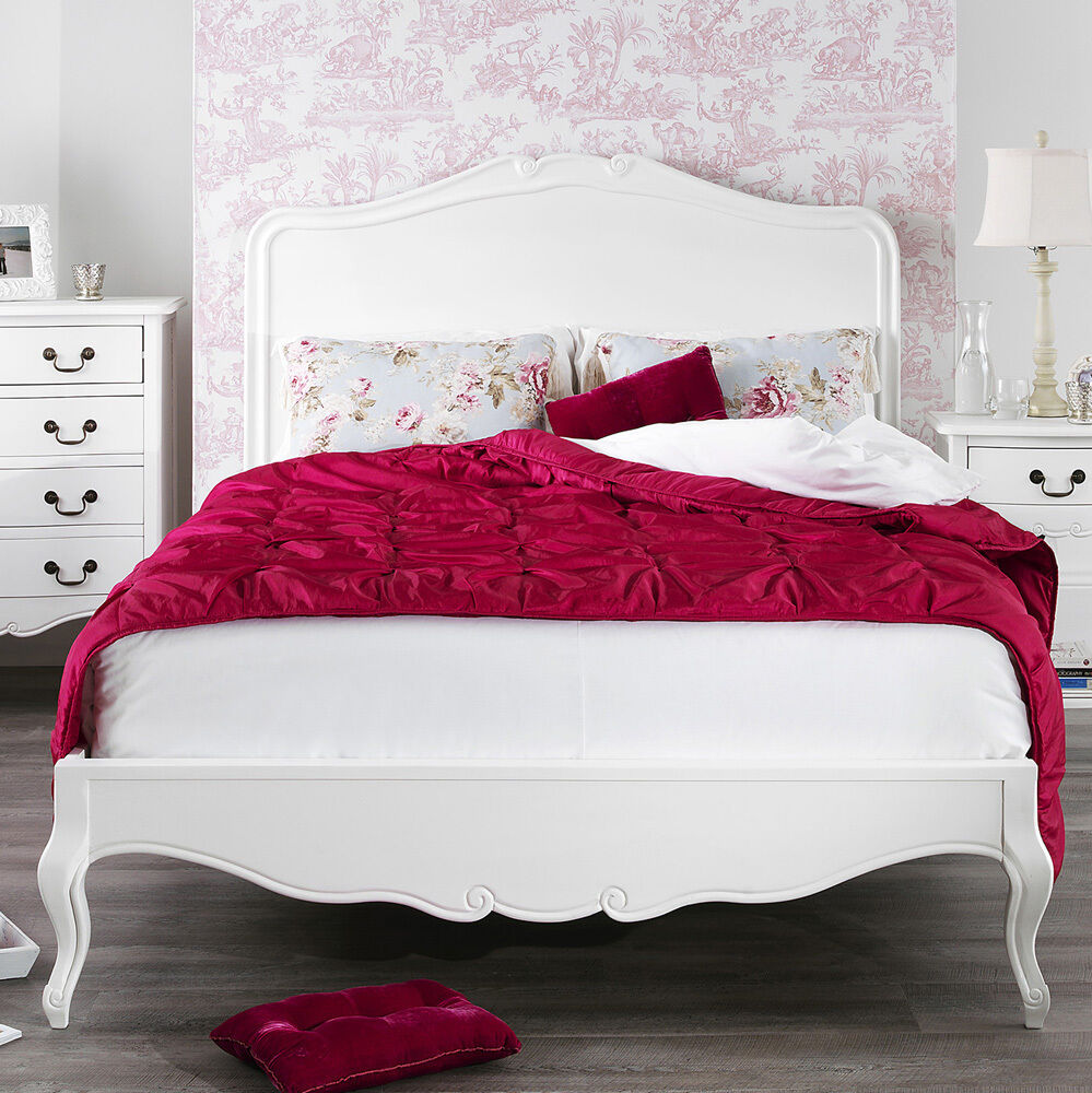 JULIETTE Shabby Chic White Double Bed Stunning Wooden
