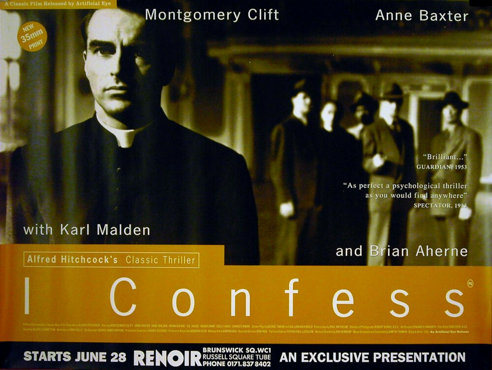 I CONFESS 1953 Alfred Hitchcock. Montgomery Clift UK QUAD POSTER | eBay