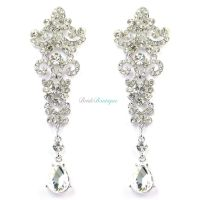 Silver Crystal Diamante Vintage Style Chandelier Long Drop