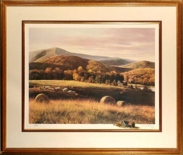 """Adolf Sehring """"autumn Fields"""" Hand Signed Fine Art Print"""