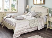 JULIETTE Shabby Chic Champagne Upholstered Double Bed ...