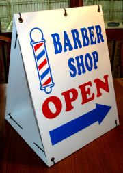 barber open with arrow 2-sided