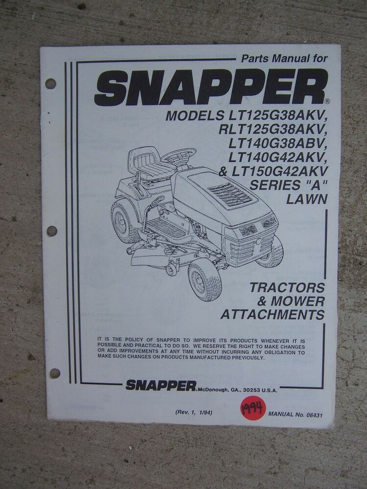 Snapper Lawn Tractor Mower Attachments Parts Manual