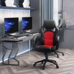 Racing Seat Chair Etac Shower Gaming Swivel Office Computer Pu Leather Executive Chairs Black Red | Ebay