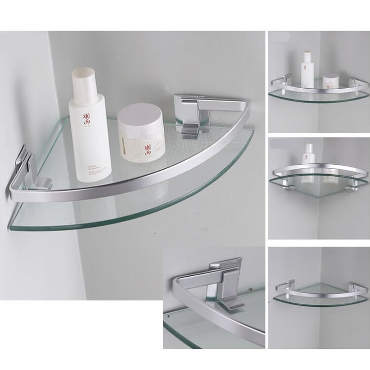 Aluminum Corner Shelves WallMounted Triangle Single Bathroom Glass Shelf 254  eBay