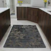 Brown Rubber Backed Modern Kitchen Rug Flat Weave Easy ...