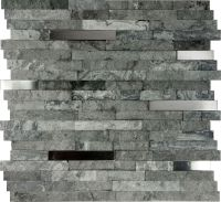 SAMPLE- Gray Natural Stone Stainless Steel Insert Mosaic ...