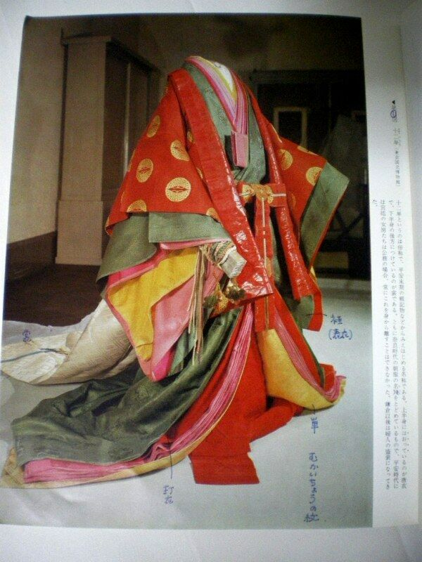 FREE SHIP Japanese Antique Heian Kimono Kuge Clothes 12