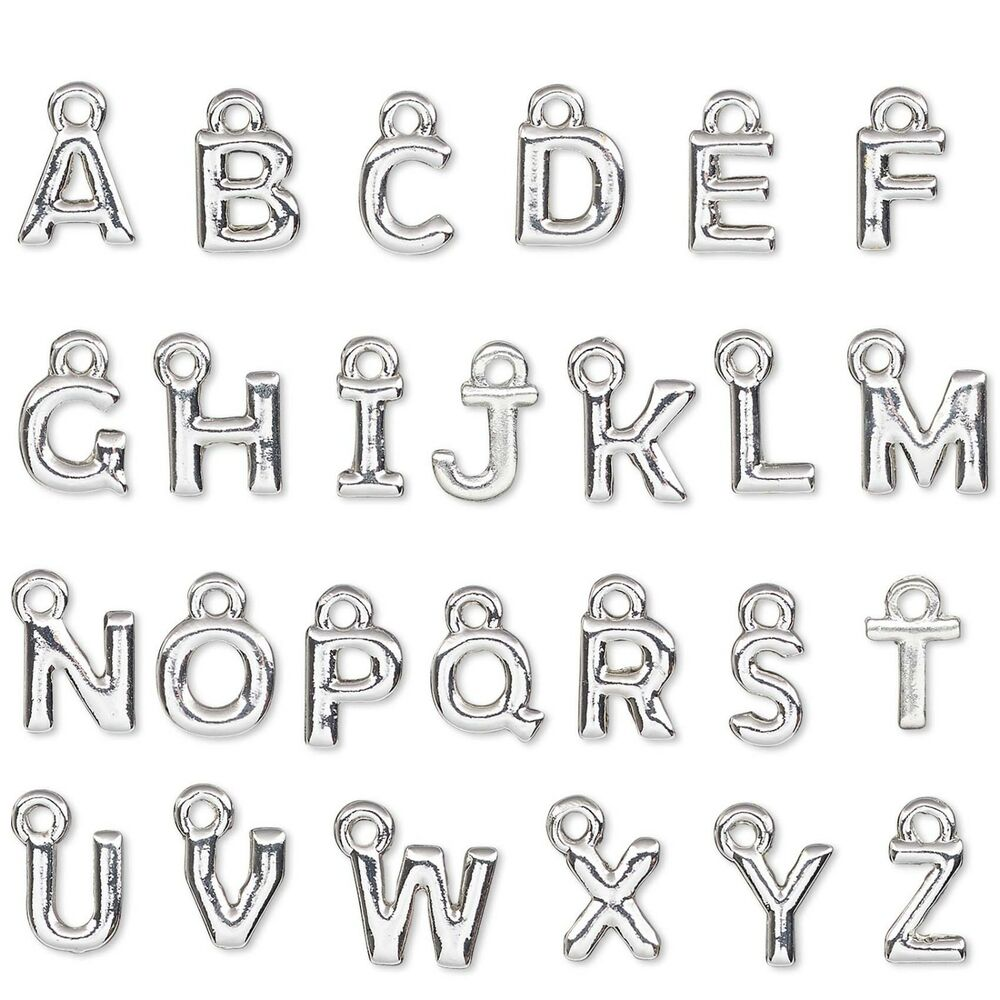 Small 8mm Capital Initial Alphabet Letter Charm Plated