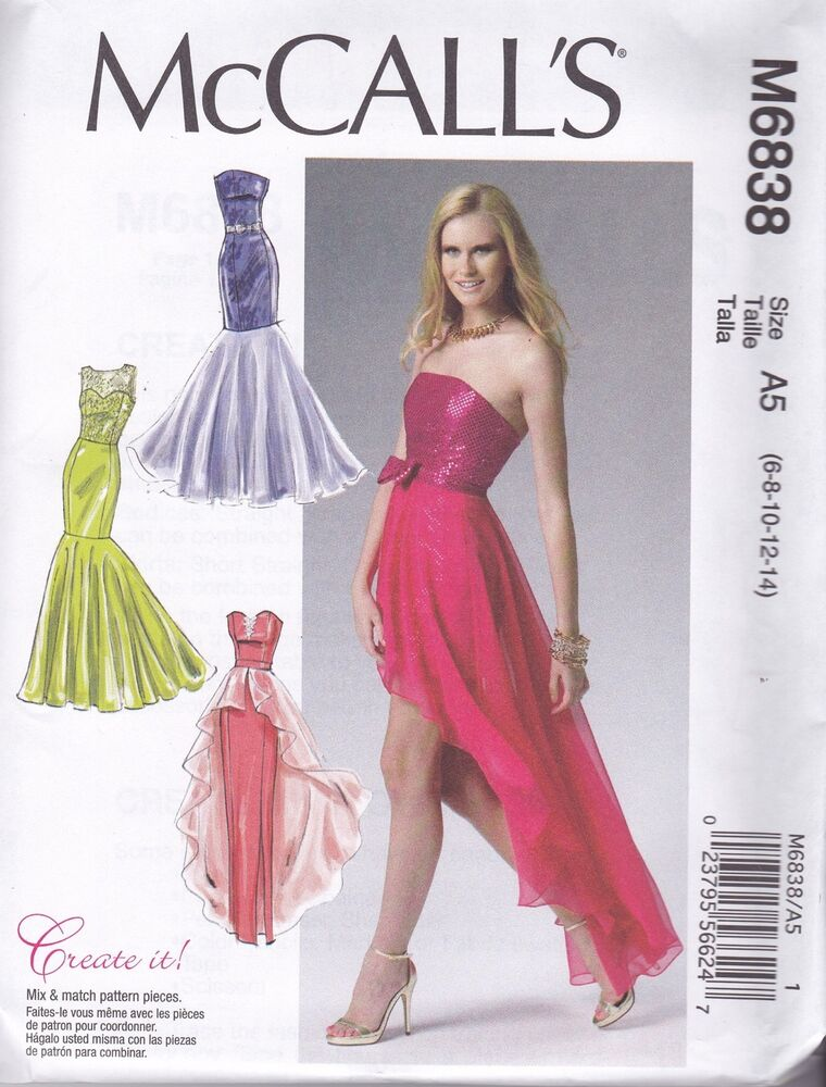 McCalls Sewing Pattern Misses Prom Evening Dress Sizes 6