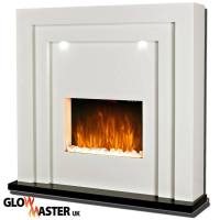 FREE STANDING DESIGNER ELECTRIC FIRE FIREPLACE WHITE MDF ...