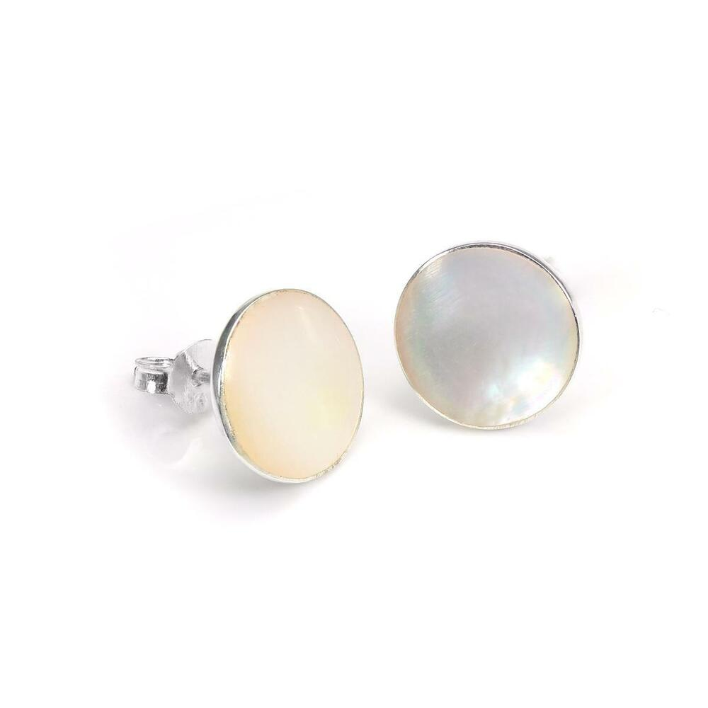 Sterling Silver & Mother of Pearl 10mm Flat Round Earring