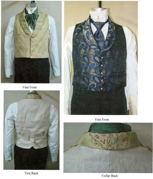 Mens Victorian Shawl Collar Vest 1850-1865 Laughing Moon