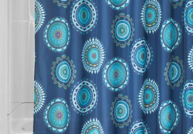 Blue And Green Striped Shower Curtain