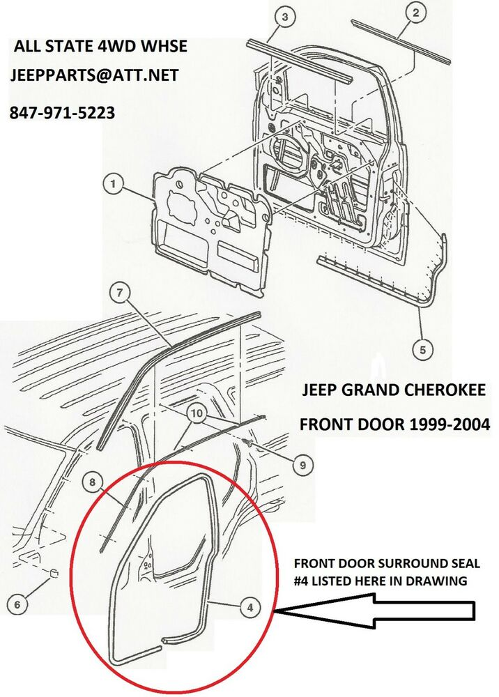 NEW LEFT DRIVERS SIDE FRONT DOOR SEAL 1999-2004 JEEP GRAND
