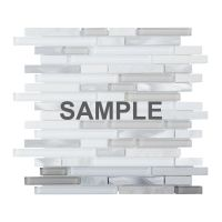 Sample White Glass Stone Metal Linear Glass Mosaic Tile