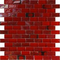 1SF Red Iridescent Glass Mosaic Tile Kitchen Backsplash ...