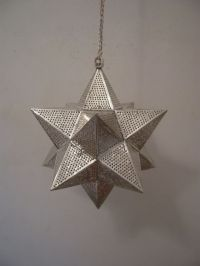 Moroccan Silver Plated Brass Hanging Star Lamp Lantern