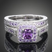 Sz 6-9 Princess Cut 10K White Gold Filled Blue Purple ...
