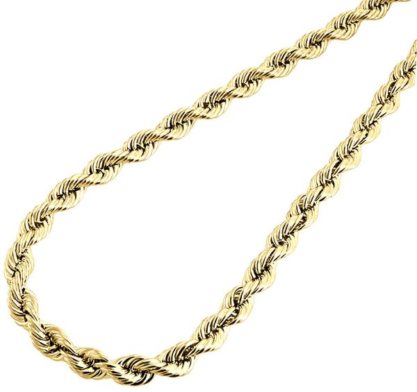 10k Yellow Gold Mens Ladies Hollow Rope Chain Necklace 6 Mm 16
