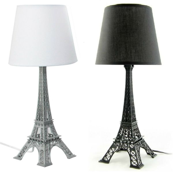 Eiffel Tower Bedside Table Lamp Black White Shade H52cm