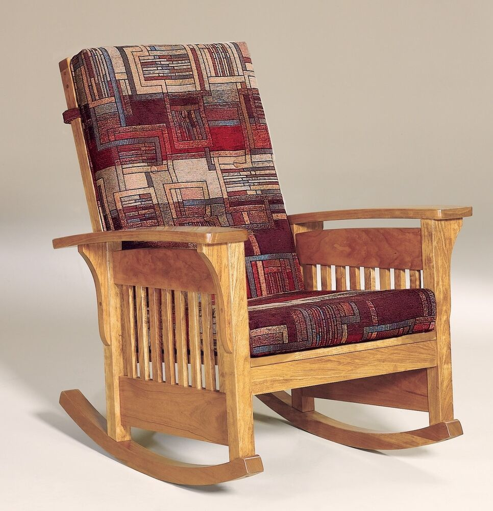 Amish Mission Arts and Crafts Rocking Chair Bow Arm Slat Rocker Wood Upholstered  eBay