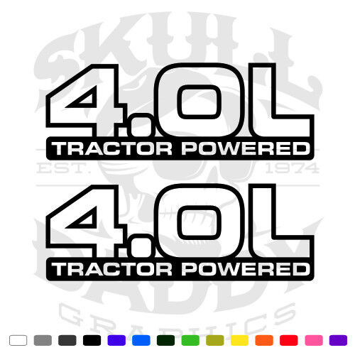 4.0 L Tractor Powered Jeep Cherokee Wrangler Stickers