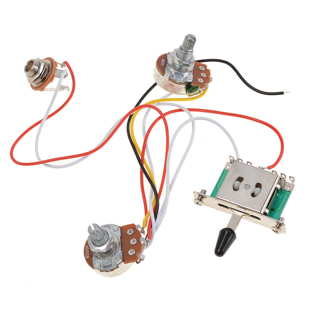 hight resolution of guitar wiring harness prewired 1 volume 1 tone 500k pots 5 way switch