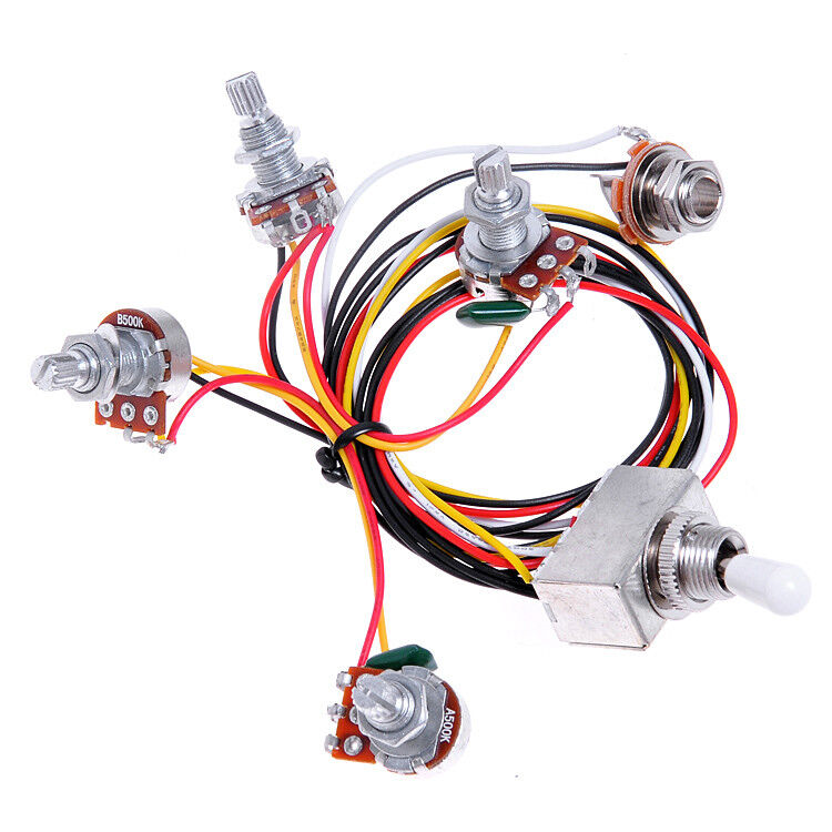 Guitar Wiring Harness 3 Way Toggle Switch 500k Volume Tone Jack For