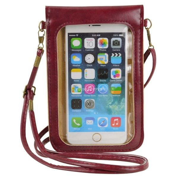 Wine Red Crossbody Shoulder Bag Cellphone Pouch Case for