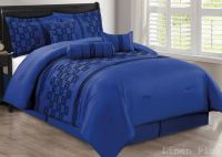 7 Piece Blue Black Flocked Comforter Set Cal King Size New