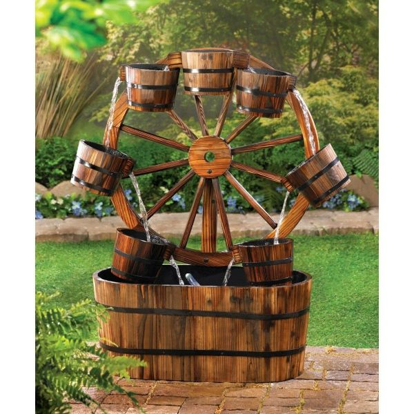 Wagon Wheel Water Fountain Rustic Fir Wood Garden Patio
