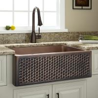 "Signature Hardware 30"" Weave Design Copper Farmhouse Sink ..."