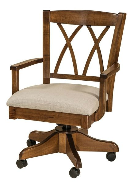 wooden office desk chairs Amish Alexis Upholstered Arm Office Desk Chair Solid Wood Rolling Gas Lift | eBay