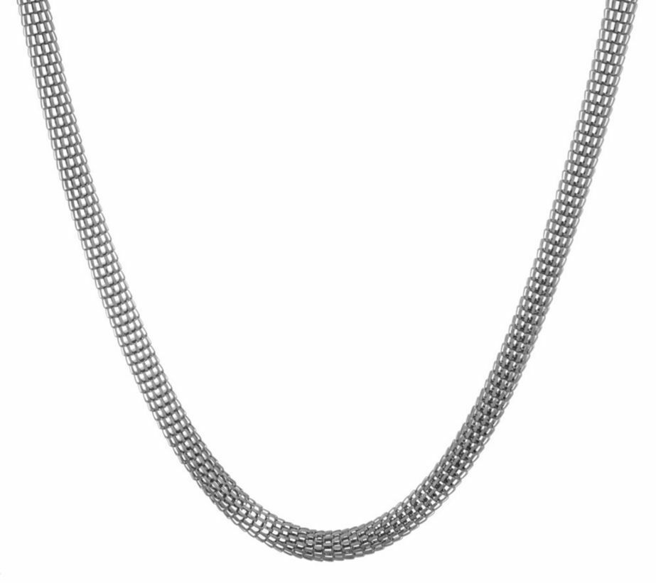 Bold Woven Mesh Chain Necklace Stainless Steel by Design
