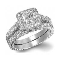 Princess Cut AAA CZ White Gold Filled Ring Set Wedding