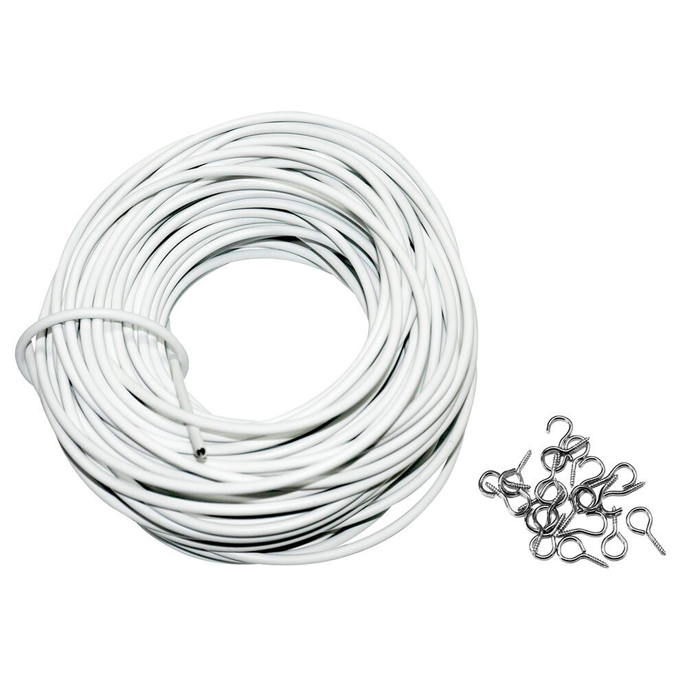 30m White Window Net Curtain Wire 100FT Long Hanging Cord