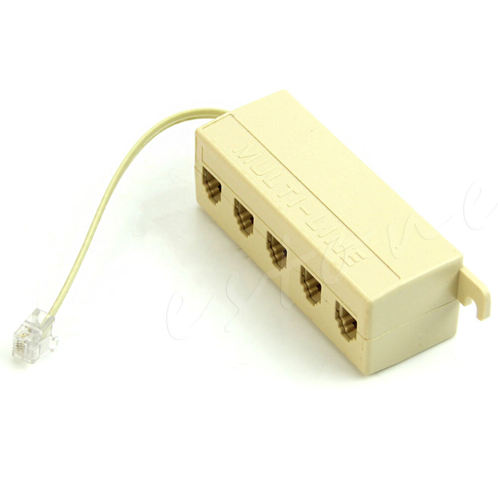 medium resolution of details about 1x rj11 jack 5 ways outlet phone modular line adapter splitter connector