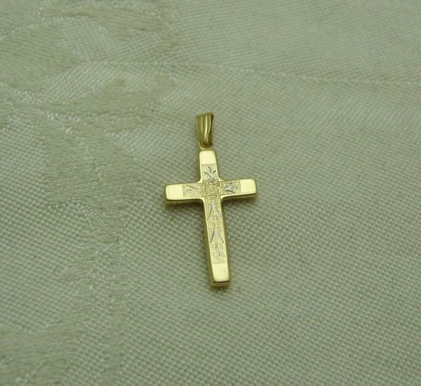 Hollow Cross 14k Solid Yellow Gold Pendant Christian Catholic Church 151-t