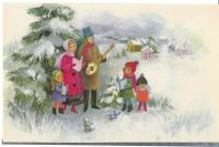 Vintage Christmas Card Family Sings Carols Unused With ...