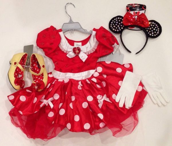 Nwt Disney Store Red Minnie Mouse 3 3t Costume Dress Ears Headband Gloves Shoes