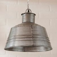 LARGE CANNING TABLE PENDANT Light in Antique Polished Tin ...