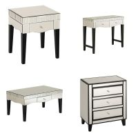 Boulevard Champagne Mirrored Finish Side Console Coffee ...